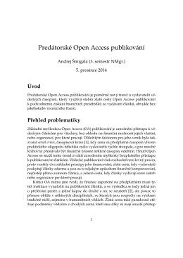 Predátorské Open Access publikování