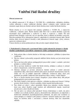 Vnitřní řád školní družiny - Základní škola, Kroměříž, Komenského