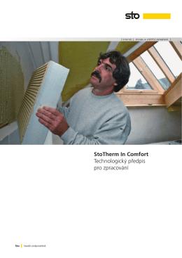 StoTherm In Comfort Technologický předpis pro zpracování