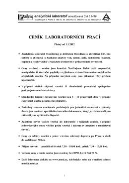 analytická laboratoř akreditovaná ČIA č.1416