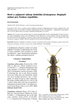 Nové a zajímavé nálezy drabčíků (Coleoptera: Staphyli