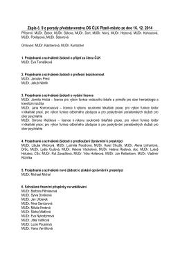 Zápis č. 9 z porady představenstva OS ČLK Plzeň