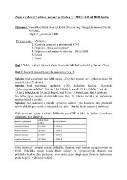 Zápis z výborové schůze, konané ve čtvrtek 3