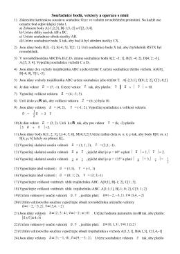 Souřadnice bodů, vektory a operace s nimi