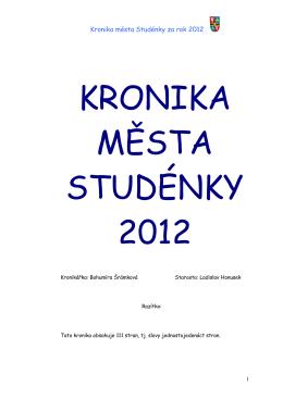 Kronika města Studénky za rok 2012