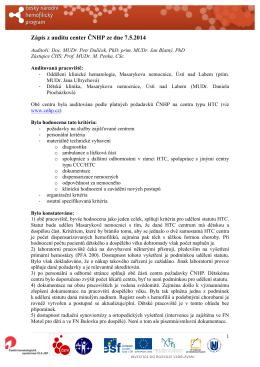 Zápis z auditu center ČNHP ze dne 7.5.2014