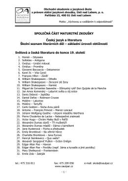 Český jazyk a literatura, Školní seznam literárních děl – základní