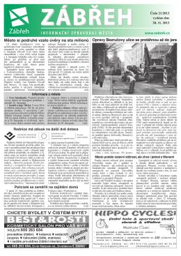 Informační zpravodaj města Zábřeh 21/2013