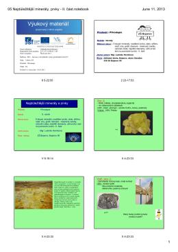 05 Nejdůležitější minerály, prvky - Základní škola Bojanov, okres
