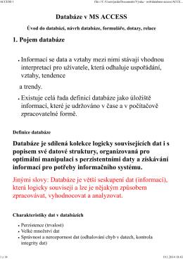 Databáze ACCESS (PDF)