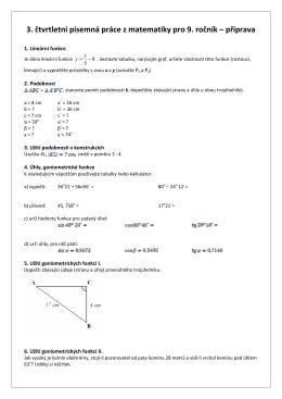3. čtvrtletní písemná práce z matematiky pro 9. ročník – příprava