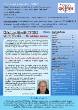 """Katalog zájezdů CK VIDI na rok 2014 Cestovní kancelář """"VIDI"""""""