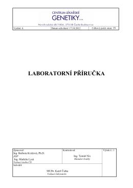 LABORATORNÍ PŘÍRUČKA - Centrum lékařské genetiky