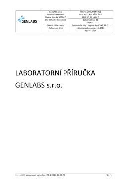 LABORATORNÍ PŘÍRUČKA GENLABS s.r.o.