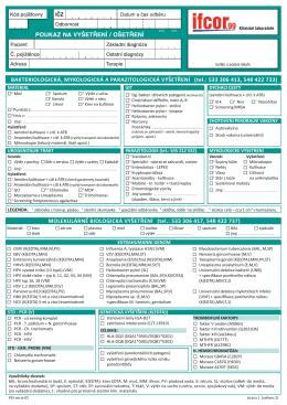 Imunologická a serologická žádanka - IFCOR