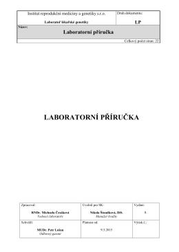 Laboratorní příručka - Laboratoř lékařské genetiky Karlovy Vary