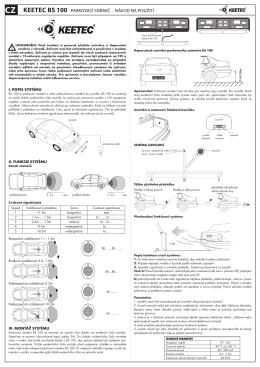 KEETEC bs 100 parkovací snímač návod na použití