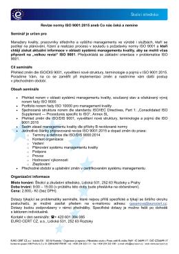 Revize normy ISO 9001:2015 aneb Co nás čeká