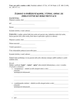 (Žádost o pořízení kopie, výpisu, opisu ze zdrav. dokumentace)