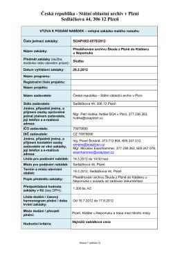 Výzva k podání nabídek - Státní oblastní archiv v Plzni