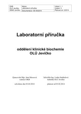 Laboratorní příručka OKB - odborný léčebný ústav jevíčko
