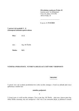 Obvodnímu soudu pro Prahu 10 Justiční areál Na Míčánkách
