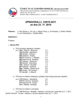 Zpravodaj č. 3 - ČSLH Žďár nad Sázavou