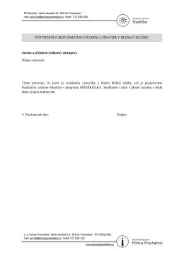 potvrzení o seznámení se s řádem a pravidly