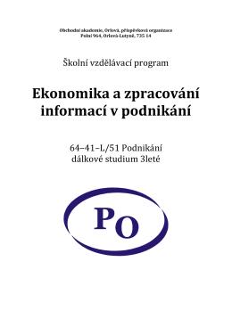 Ekonomika a zpracování informací v podnikání