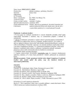 Názov kurzu: FOUCAULT A MOC