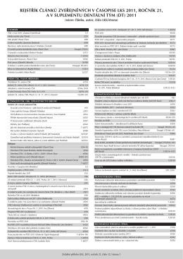 Rejstřík článků zveřejněných v LKS a v suplementu Dentální tým v