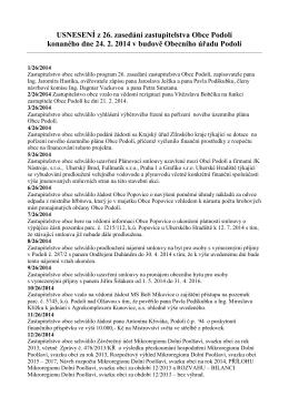 Usnesení z 26. veřejného zasedání zastupitelstva
