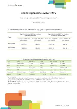 Ceník Digitální televize O2TV