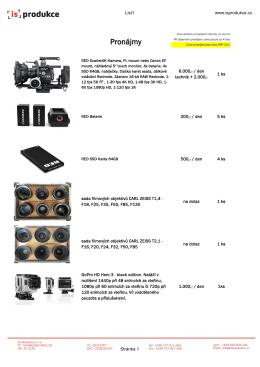 Ceník pronájmu filmové a foto techniky