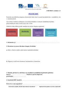 Insekticidy Herbicidy Fungicidy Rodenticidy PESTICIDY