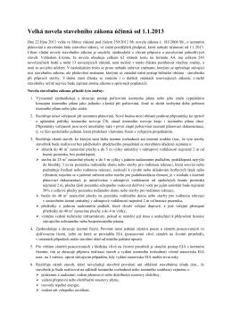 Velká novela stavebního zákona účinná od 1.1.2013