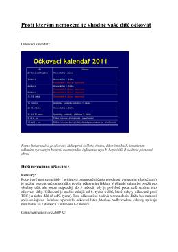 Očkovací kalendář 2011