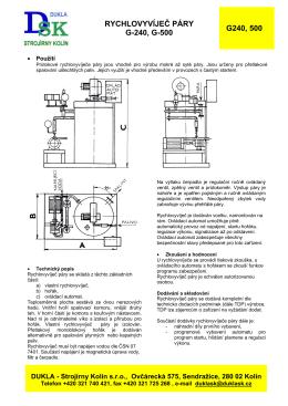 rychlovyvíječ páry g-240, g-500 g240, 500 - DUKLA