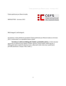 Česká společnost pro filmová studia – červenec 2013 Česká