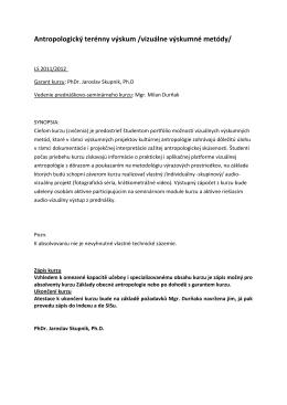 Antropologický terénny výskum /vizuálne výskumné metódy/