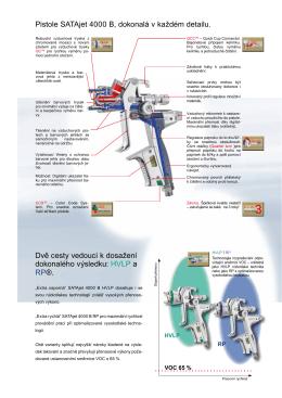 Pistole SATAjet 4000 B, dokonalá v každém detailu. Dvě cesty