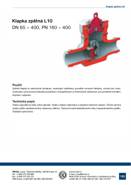 Klapka zpétná L10 DN 65 – 400, PN 160 – 400