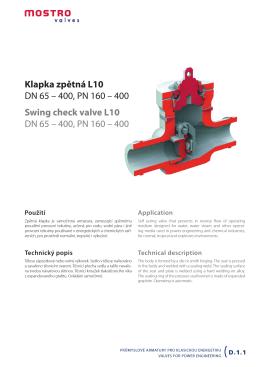 Klapka zpětná L10 DN 65 – 400, PN 160 – 400 Swing check valve
