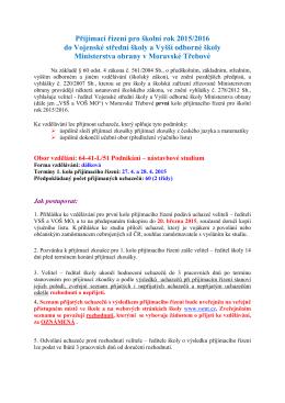 Přijímací řízení pro školní rok 2015/2016