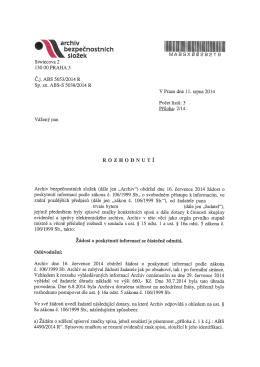ABS 5653/2014 R: Odpověď Archivu na žádost pana A.P., jejímž