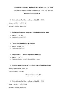Strategický rozvojový plán obce Jestřebí na r. 2015 až 2020