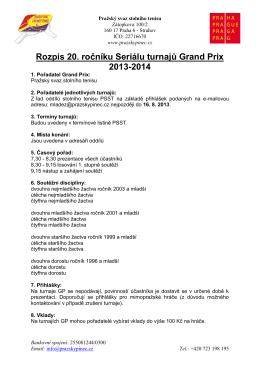 Rozpis 20. ročníku Seriálu turnajů Grand Prix 2013-2014