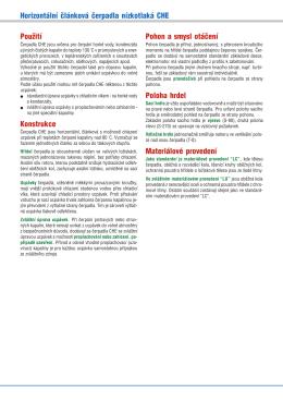 Horizontální článková čerpadla nízkotlaká CHE Použití Konstrukce