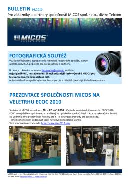Spoustu optimismu v roce 2010 Vám přeje MICOS tým obchodníků