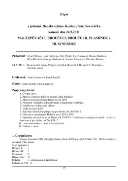 Zápis z jednání členské schůze Kruhu přátel Severáčku